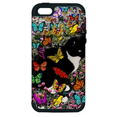 Freckles In Butterflies I, Black White Tux Cat Apple Iphone 5 Hardshell Case (pc+silicone) by DianeClancy
