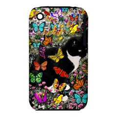 Freckles In Butterflies I, Black White Tux Cat Apple Iphone 3g/3gs Hardshell Case (pc+silicone) by DianeClancy