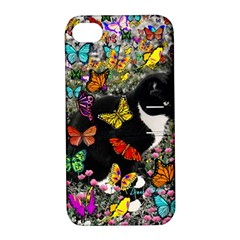 Freckles In Butterflies I, Black White Tux Cat Apple Iphone 4/4s Hardshell Case With Stand by DianeClancy