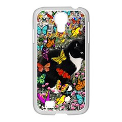 Freckles In Butterflies I, Black White Tux Cat Samsung Galaxy S4 I9500/ I9505 Case (white) by DianeClancy