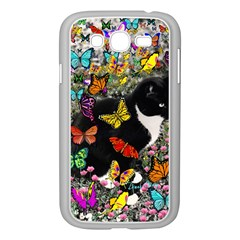 Freckles In Butterflies I, Black White Tux Cat Samsung Galaxy Grand Duos I9082 Case (white) by DianeClancy