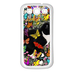 Freckles In Butterflies I, Black White Tux Cat Samsung Galaxy S3 Back Case (white) by DianeClancy