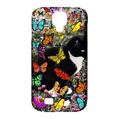 Freckles In Butterflies I, Black White Tux Cat Samsung Galaxy S4 Classic Hardshell Case (pc+silicone) by DianeClancy