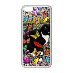 Freckles In Butterflies I, Black White Tux Cat Apple Iphone 5c Seamless Case (white) by DianeClancy