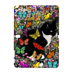 Freckles In Butterflies I, Black White Tux Cat Samsung Galaxy Note 10 1 (p600) Hardshell Case by DianeClancy