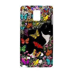 Freckles In Butterflies I, Black White Tux Cat Samsung Galaxy Note 4 Hardshell Case by DianeClancy
