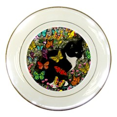 Freckles In Butterflies I, Black White Tux Cat Porcelain Plates by DianeClancy