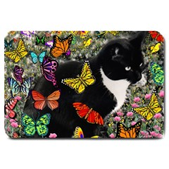Freckles In Butterflies I, Black White Tux Cat Large Doormat  by DianeClancy