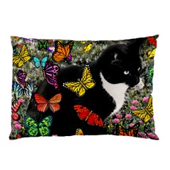 Freckles In Butterflies I, Black White Tux Cat Pillow Case by DianeClancy