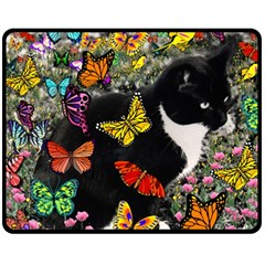 Freckles In Butterflies I, Black White Tux Cat Double Sided Fleece Blanket (medium)  by DianeClancy