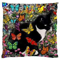 Freckles In Butterflies I, Black White Tux Cat Large Flano Cushion Case (two Sides) by DianeClancy
