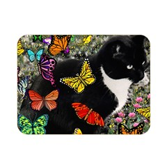 Freckles In Butterflies I, Black White Tux Cat Double Sided Flano Blanket (mini)  by DianeClancy