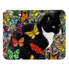 Freckles In Butterflies I, Black White Tux Cat Double Sided Flano Blanket (large)  by DianeClancy