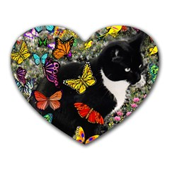 Freckles In Butterflies I, Black White Tux Cat Heart Mousepads by DianeClancy