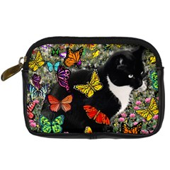 Freckles In Butterflies I, Black White Tux Cat Digital Camera Cases