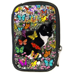 Freckles In Butterflies I, Black White Tux Cat Compact Camera Cases by DianeClancy