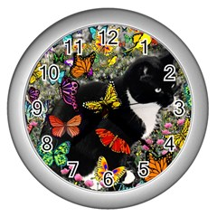 Freckles In Butterflies I, Black White Tux Cat Wall Clocks (silver)  by DianeClancy