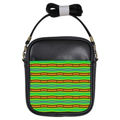 Bright Green Orange Lines Stripes Girls Sling Bags by BrightVibesDesign