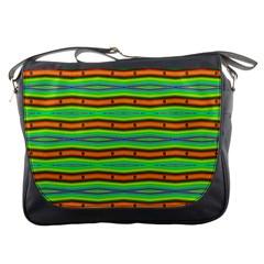 Bright Green Orange Lines Stripes Messenger Bags by BrightVibesDesign