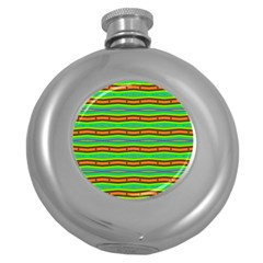 Bright Green Orange Lines Stripes Round Hip Flask (5 Oz) by BrightVibesDesign