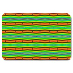Bright Green Orange Lines Stripes Large Doormat  by BrightVibesDesign
