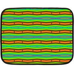 Bright Green Orange Lines Stripes Fleece Blanket (mini) by BrightVibesDesign