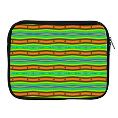 Bright Green Orange Lines Stripes Apple Ipad 2/3/4 Zipper Cases by BrightVibesDesign