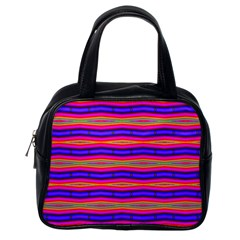 Bright Pink Purple Lines Stripes Classic Handbags (one Side) by BrightVibesDesign