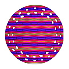 Bright Pink Purple Lines Stripes Ornament (round Filigree)  by BrightVibesDesign