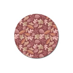 Marsala Leaves Pattern Magnet 3  (round)