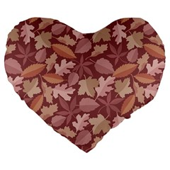 Marsala Leaves Pattern Large 19  Premium Flano Heart Shape Cushions by sifis