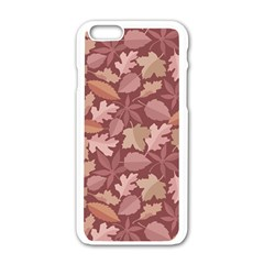 Marsala Leaves Pattern Apple Iphone 6/6s White Enamel Case by sifis