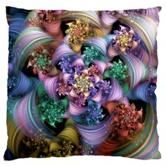 Bright Taffy Spiral Large Cushion Case (one Side) by WolfepawFractals