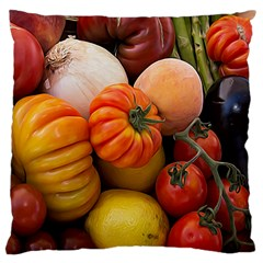 Heirloom Tomatoes Large Cushion Case (one Side) by MichaelMoriartyPhotography