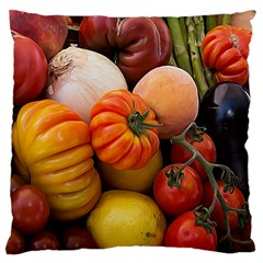 Heirloom Tomatoes Large Flano Cushion Case (one Side)