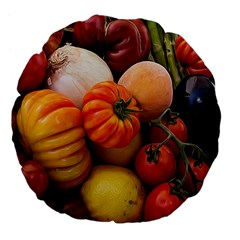 Heirloom Tomatoes Large 18  Premium Flano Round Cushions by MichaelMoriartyPhotography