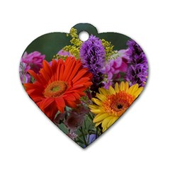 Colorful Flowers Dog Tag Heart (two Sides) by MichaelMoriartyPhotography