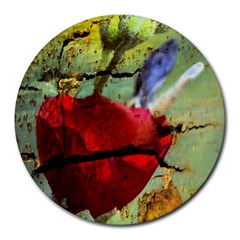 Rusty Globe Mallow Flower Round Mousepads by MichaelMoriartyPhotography