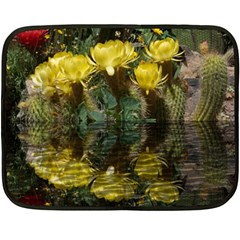 Cactus Flowers With Reflection Pool Double Sided Fleece Blanket (mini)  by MichaelMoriartyPhotography