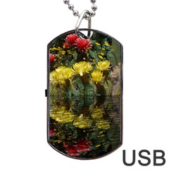 Cactus Flowers With Reflection Pool Dog Tag Usb Flash (two Sides)