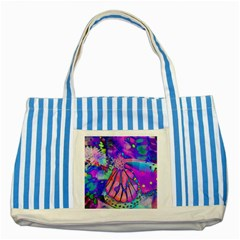 Psychedelic Butterfly Striped Blue Tote Bag by MichaelMoriartyPhotography