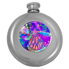 Psychedelic Butterfly Round Hip Flask (5 Oz) by MichaelMoriartyPhotography
