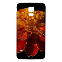 Marigold On Black Samsung Galaxy S5 Back Case (white) by MichaelMoriartyPhotography