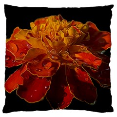 Marigold On Black Large Flano Cushion Case (one Side) by MichaelMoriartyPhotography
