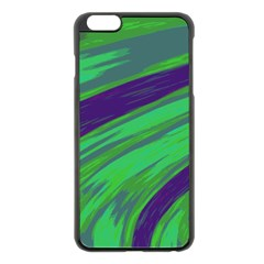Swish Green Blue Apple Iphone 6 Plus/6s Plus Black Enamel Case by BrightVibesDesign