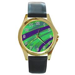 Swish Green Blue Round Gold Metal Watch by BrightVibesDesign