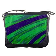 Swish Green Blue Messenger Bags by BrightVibesDesign