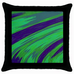 Swish Green Blue Throw Pillow Case (black) by BrightVibesDesign