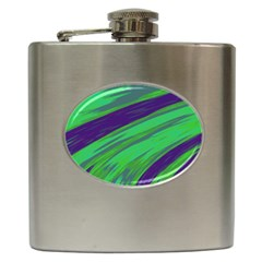 Swish Green Blue Hip Flask (6 Oz) by BrightVibesDesign