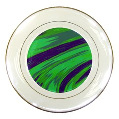 Swish Green Blue Porcelain Plates by BrightVibesDesign